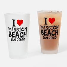 I Love Mission Beach, San Diego Drinking Glass
