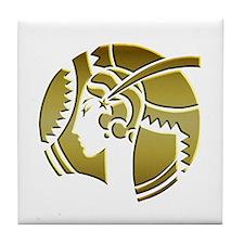 Golden Art Deco Lady Tile Coaster