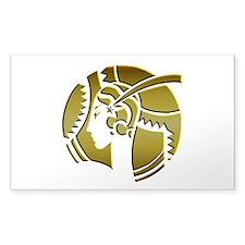 Golden Art Deco Lady Sticker (Rectangle)