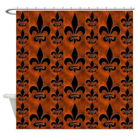 Fleur de lis rust shower curtain by krs creations - Fleur de lis shower curtain ...