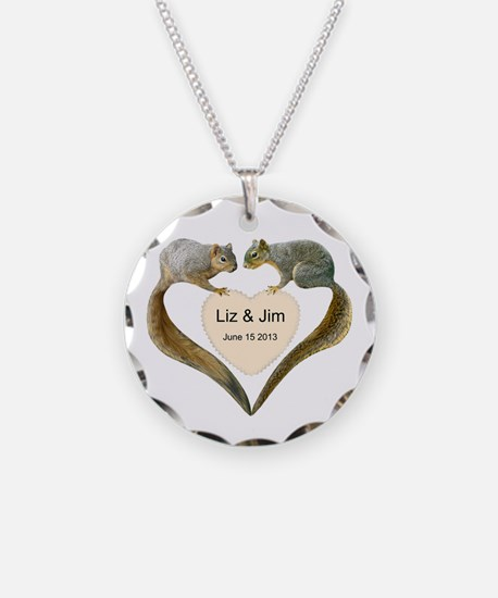 Love Squirrels Necklace Circle Charm