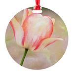 Peach Tulip Flower Round Ornament