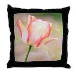 Peach Tulip Flower Throw Pillow