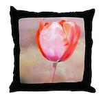 Red Tulip Flower Throw Pillow