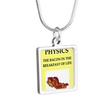 physics Silver Square Necklace