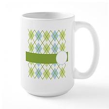 Green and Blue Argyle Mug