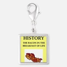 history Silver Square Charm