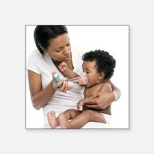 Baby using an asthma spacer - Square Sticker 3