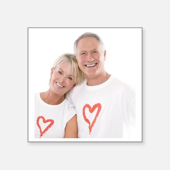 Happy senior couple - Square Sticker 3