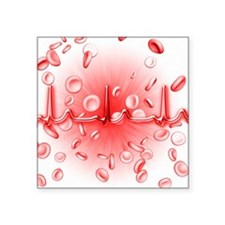 ECG and red blood cells - Square Sticker 3