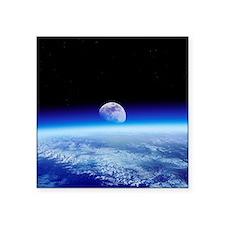 Moon rising over Earth's horizon - Square Sticker