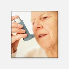 Woman using an inhaler - Square Sticker 3