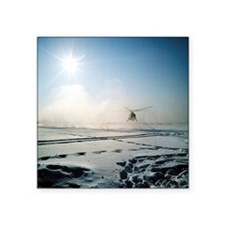 Helicopter landing on snow - Square Sticker 3