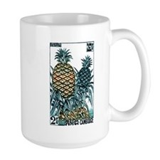 Vintage 1962 Cambodia Pineapples Postage Stamp Mug