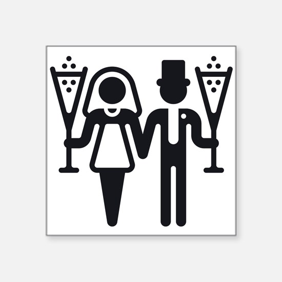 Bridal Pair With Sparkling Wine (Wedding) Square S