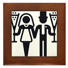 Bridal Pair With Sparkling Wine (Wedding) Framed T