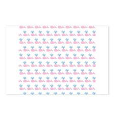 Pink Whales Pattern. Postcards (Package of 8)