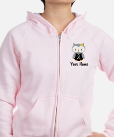 Personalized Gray Ribbon Owl Zip Hoodie