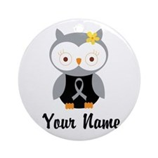 Personalized Gray Ribbon Owl Ornament (Round)