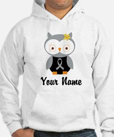 Personalized Gray Ribbon Owl Hoodie