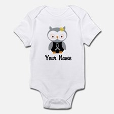 Personalized Gray Ribbon Owl Infant Bodysuit