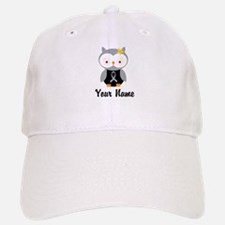 Personalized Gray Ribbon Owl Baseball Baseball Cap