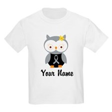 Personalized Gray Ribbon Owl T-Shirt