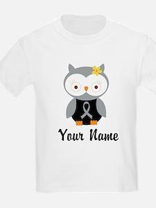 Personalized Gray Ribbon Owl T-Shirt