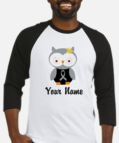 Personalized Gray Ribbon Owl Baseball Jersey