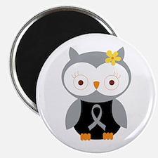 Gray Ribbon Awareness Owl Magnet