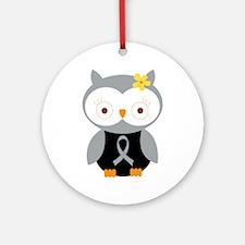 Gray Ribbon Awareness Owl Ornament (Round)