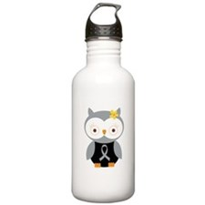 Gray Ribbon Awareness Owl Sports Water Bottle