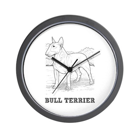 Bull Terrier Drawing Wall Clock by cafepets