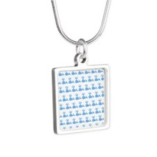 Pattern of Blue Whales. Silver Square Necklace