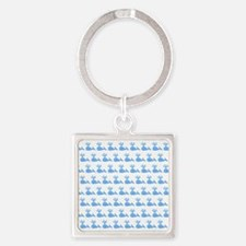 Pattern of Blue Whales. Square Keychain