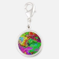 Bright Colorful Swirls. Silver Round Charm