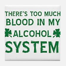 Funny Irish Clover Drinking Shirt Tile Coaster