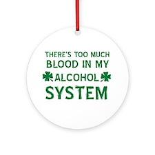Funny Irish Clover Drinking Shirt Ornament (Round)