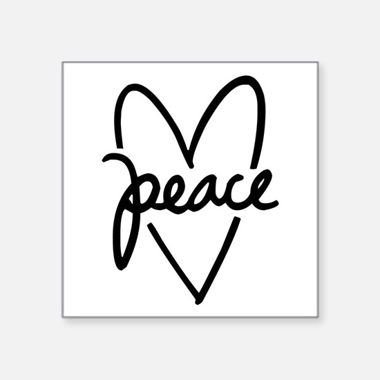 "Peace Heart Square Sticker 3"" x 3"""
