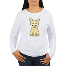Cream Color Cat. Long Sleeve T-Shirt