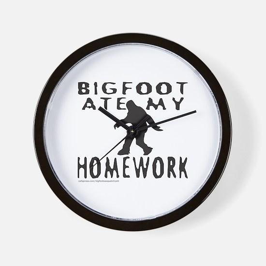BIGFOOT ATE MY HOMEWORK Wall Clock