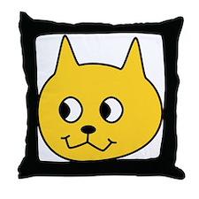 Yellow Cartoon Cat. Throw Pillow
