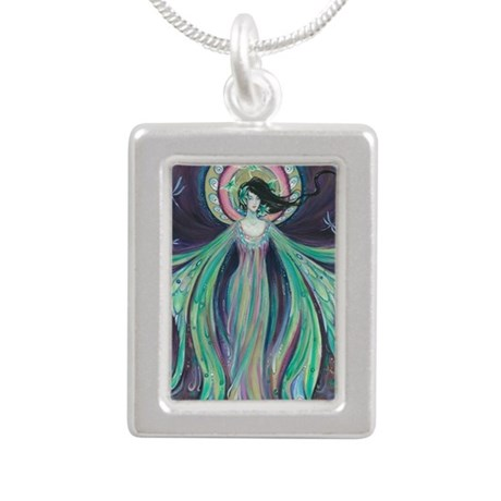 Luna Moth Art Nouveau Fairy Silver Portrait Neckla