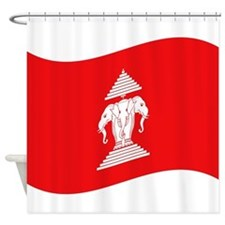 Laos Lao Erawan Flag Wave Shower Curtain