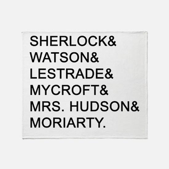 Sherlock Names Throw Blanket