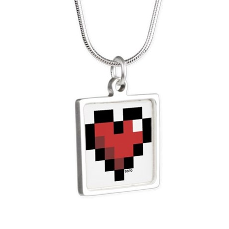 Pixel Heart Silver Square Necklace