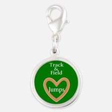 Track and Field Love Jumps Silver Round Charm