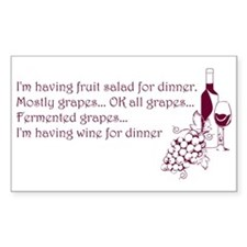 Wine For Dinner Decal