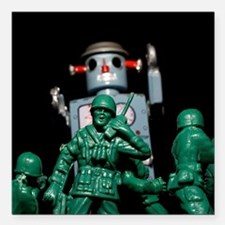 "Army men and Giant Robot. Square Car Magnet 3"" x 3"