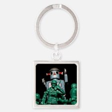 Army men and Giant Robot. Square Keychain